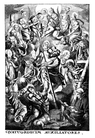 Antique vintage religious allegorical engraving or drawing of man surrounded by saints and patrons. Latin text say fourteen helpers.Illustration from Book Die Betrubte Und noch Ihrem Beliebten..., Austrian Empire,1716. Artist is unknown. Stock fotó