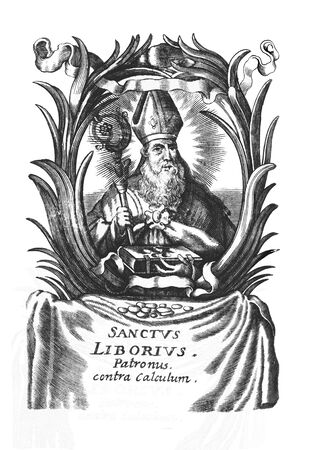 Antique vintage religious allegorical engraving or drawing of Christian holy man saint Liborius of Le Mans.Illustration from Book Die Betrubte Und noch Ihrem Beliebten..., Austrian Empire,1716. Artist is unknown.