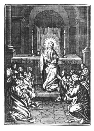 Antique vintage religious engraving or drawing of Jesus giving wafer to twelve praying men or apostles or disciples in church. Illustration from Book Die Betrubte Und noch Ihrem Beliebten..., Austrian Empire,1716. Artist is unknown.