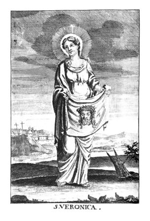 Antique vintage religious allegorical engraving or drawing of Christian holy woman saint Veronica or Berenika with image of Jesus on cloth.Illustration from Book Die Betrubte Und noch Ihrem Beliebten..., Austrian Empire,1716. Artist is unknown.