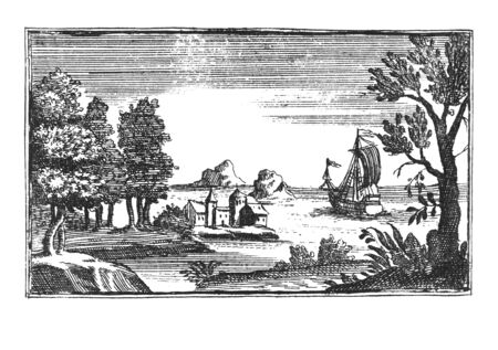 Modified antique vintage engraving or drawing of romantic beautiful seaside landscape with monastery or church, sailing boat and trees. Original illustration from Book Die Betrubte Und noch Ihrem Beliebten..., Austrian Empire,1716. Artist is unknown. Stock fotó