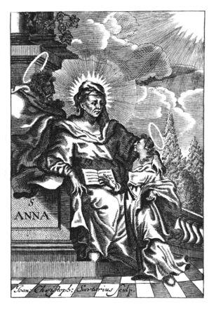 Antique vintage religious allegorical engraving or drawing of Christian holy woman saint Anna.Illustration from Book Die Betrubte Und noch Ihrem Beliebten..., Austrian Empire,1716. Artist J.C.Sartorius.
