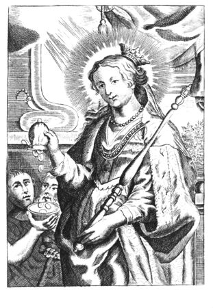 Antique vintage religious allegorical engraving or drawing of Christian holy woman saint Elizabeth giving money to poor people. Illustration from Book Die Betrubte Und noch Ihrem Beliebten..., Austrian Empire,1716. Artist is unknown.