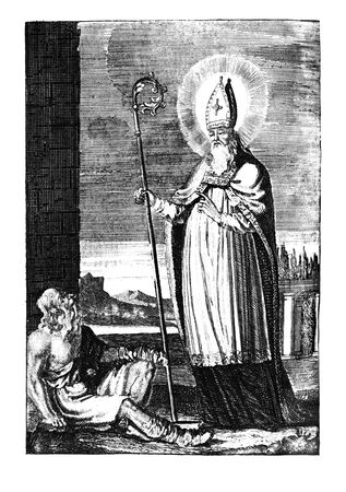 Antique vintage religious allegorical engraving or drawing of Christian holy man saint Stapin.Illustration from Book Die Betrubte Und noch Ihrem Beliebten..., Austrian Empire,1716. Artist I.I.Wolff.
