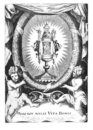 Antique vintage religious engraving or drawing of two cherubs or angels holding wreath with chalice.Illustration from Book Die Betrubte Und noch Ihrem Beliebten..., Austrian Empire,1716. Artist is unknown.