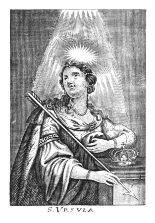 Antique vintage religious allegorical engraving or drawing of Christian holy woman saint Ursula.Illustration from Book Die Betrubte Und noch Ihrem Beliebten..., Austrian Empire,1716. Artist is unknown. Stock fotó