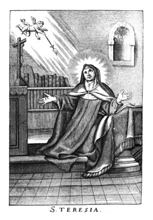 Antique vintage religious allegorical engraving or drawing of nun or Christian holy woman saint Teresa.Illustration from Book Die Betrubte Und noch Ihrem Beliebten..., Austrian Empire,1716. Artist is unknown.