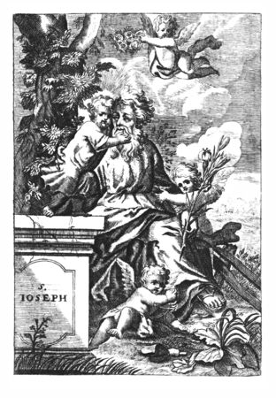 Antique vintage religious allegorical engraving or drawing of Christian holy man saint Joseph, father of Jesus, with cherubs or angels.Illustration from Book Die Betrubte Und noch Ihrem Beliebten..., Austrian Empire,1716. Artist is unknown. Stock fotó