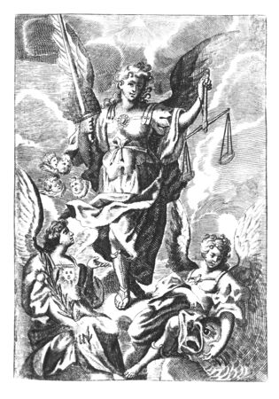 Antique vintage religious allegorical engraving or drawing of archangel Gabriel with scale and sword and other angels on clouds of heaven.Illustration from Book Die Betrubte Und noch Ihrem Beliebten..., Austrian Empire,1716. Artist is unknown.