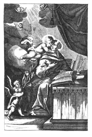 Antique vintage religious allegorical engraving or drawing of Christian holy man saint Anthony of Padua. Monk writing book surrounded by angels.Illustration from Book Die Betrubte Und noch Ihrem Beliebten..., Austrian Empire,1716. Artist is unknown.