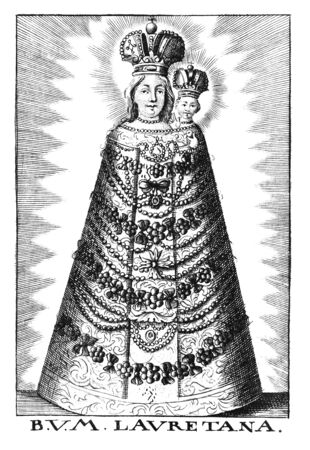 Antique vintage religious allegorical engraving or drawing of Christian blessed virgin Mary of Loreto with baby Jesus. Text say B.V.M Lauretana.Illustration from Book Die Betrubte Und noch Ihrem Beliebten..., Austrian Empire,1716. Artist is unknown.