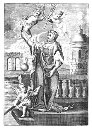 Antique vintage religious allegorical engraving or drawing of Christian holy woman saint Barbara with cherubs or angels.Illustration from Book Die Betrubte Und noch Ihrem Beliebten..., Austrian Empire,1716. Artist is unknown.