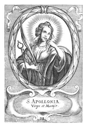 Antique vintage religious allegorical engraving or drawing of Christian holy woman saint Apollonia holding pliers and tooth.Illustration from Book Die Betrubte Und noch Ihrem Beliebten..., Austrian Empire,1716. Artist is unknown.