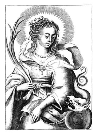 Antique vintage religious allegorical engraving or drawing of Christian holy woman saint Margaret of Antioch or Marina the Great Martyr.Illustration from Book Die Betrubte Und noch Ihrem Beliebten..., Austrian Empire,1716. Artist is unknown. Stock fotó