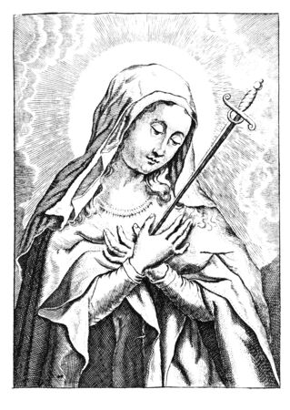 Antique vintage religious allegorical engraving or drawing of Christian virgin Mary or holy woman or saint with sword jabbed to her heart.Illustration from Book Die Betrubte Und noch Ihrem Beliebten..., Austrian Empire,1716. Artist is unknown.
