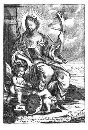 Antique vintage religious allegorical engraving or drawing of Christian holy woman saint Catherine or Katharine of Alexandria with wheel.Illustration from Book Die Betrubte Und noch Ihrem Beliebten..., Austrian Empire,1716. Artist J.C.Sartorius.