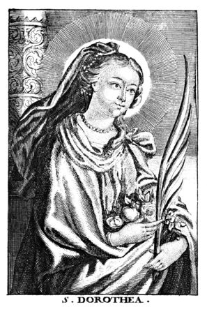 Antique vintage religious allegorical engraving or drawing of Christian holy woman saint Dorothy or Dorothea of Caesarea.Illustration from Book Die Betrubte Und noch Ihrem Beliebten..., Austrian Empire,1716. Artist is unknown. Stock fotó