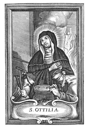 Antique vintage religious allegorical engraving or drawing of Christian holy woman saint Odile of Alsace or Odilia or Ottilia.Illustration from Book Die Betrubte Und noch Ihrem Beliebten..., Austrian Empire,1716. Artist is unknown.