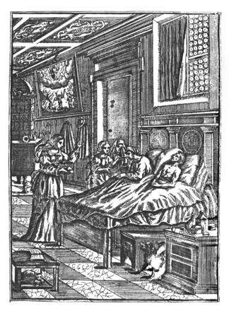 Antique vintage historical engraving or drawing of two sick man lying in bed in care of three women. Treatment, Healthcare in the Past.Illustration from Book Die Betrubte Und noch Ihrem Beliebten..., Austrian Empire,1716. Artist is unknown. Stock fotó