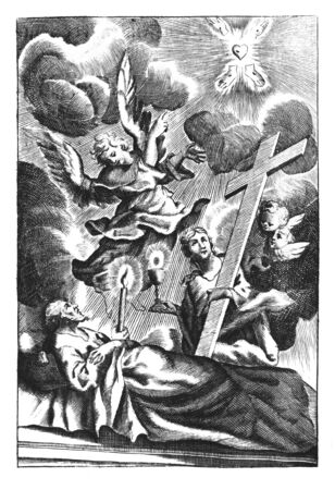 Antique vintage religious allegorical Christian engraving or drawing of dying old man directed by angel to heaven and woman holding big cross.Illustration from Book Die Betrubte Und noch Ihrem Beliebten..., Austrian Empire,1716. Artist is unknown.
