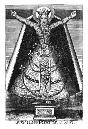 Antique vintage religious allegorical engraving or drawing of Christian holy woman saint Wilgefortis.Illustration from Book Die Betrubte Und noch Ihrem Beliebten..., Austrian Empire,1716. Artist is unknown. Stock fotó