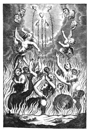 Antique vintage religious allegorical engraving or drawing of souls or people suffering in fire of hell and angels showing them way to heaven.Illustration from Book Die Betrubte Und noch Ihrem Beliebten..., Austrian Empire,1716. Artist is unknown.