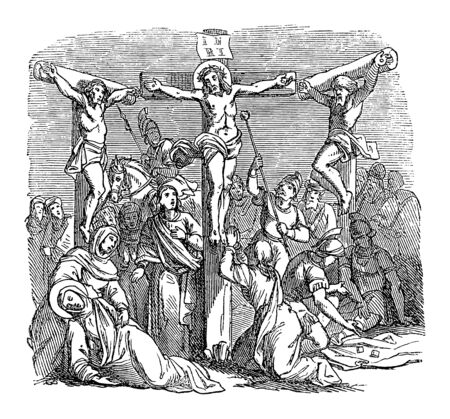 Antique vintage biblical religious engraving or drawing of crucified Jesus hanging on cross for during crucifixion with two criminals. Bible, New Testament,Luke 23. Biblische Geschichte , Germany 1859.