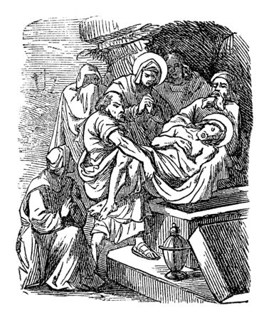 Antique vintage biblical religious engraving or drawing of burial of Jesus, Joseph of Arimathea is placing his body in a tomb. Bible, New Testament,Luke 23. Biblische Geschichte , Germany 1859.