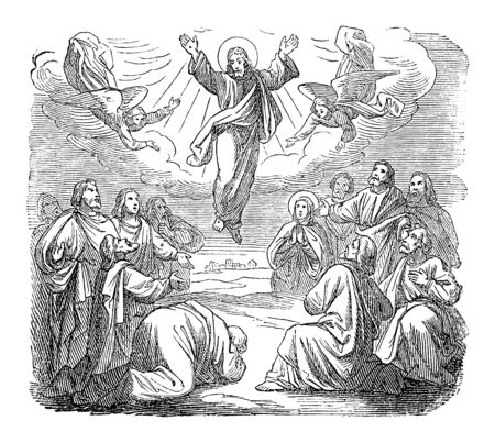 Antique vintage biblical religious engraving or drawing of resurrected Jesus is taken up to heaven.Bible, New Testament,gospel of Luke 24. Biblische Geschichte , Germany 1859.