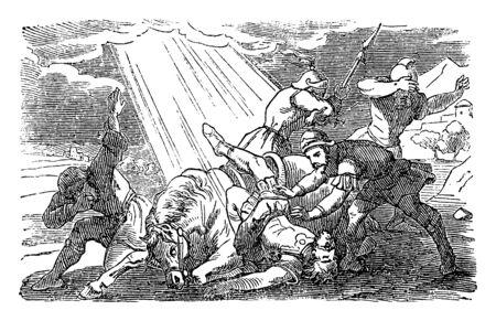 Ancienne gravure religieuse biblique ou dessin de l'histoire de Jésus parlant à Saul sur la route de Damas. Bible, Nouveau Testament, Actes 9. Biblische Geschichte , Allemagne 1859.