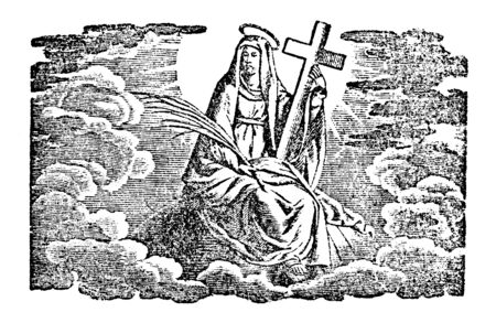 Antique vintage biblical religious engraving or drawing of holy woman on saint or Virgin Mary in heaven holding cross.Bible,New Testament,Mittlerer Himmelsschlussel, Neuhaus, Germany, 1840