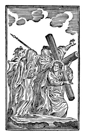 Antique vintage biblical religious engraving or drawing of 4th or fourth Station of the Cross or Way of the Cross or Via Crucis. Jesus meets his mother Mary.Bible,New Testament,Mittlerer Himmelsschlus