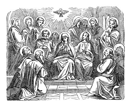 Antique vintage biblical religious engraving or drawing of choosing disciple Matthias as Judas successor as apostle. Bible, New Testament,Acts 1. Biblische Geschichte , Germany 1859.