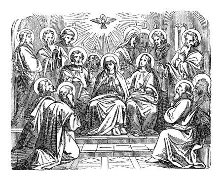 Antique vintage biblical religious engraving or drawing of choosing disciple Matthias as Judas successor as apostle. Bible, New Testament,Acts 1. Biblische Geschichte , Germany 1859. Vetores