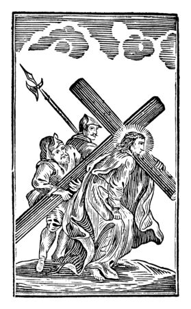 Antique vintage biblical religious engraving or drawing of 5th or fifth Station of the Cross or Way of the Cross or Via Crucis. Simon of Cyrene helps Jesus carry the cross.Bible,New Testament,Mittlerer Himmelsschlussel, Neuhaus, Germany, 1840