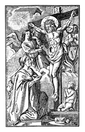 Antique vintage biblical religious engraving or drawing of crucified Jesus hanging on the cross with angels and Mary Magdalene Around.Bible,New Testament,Mittlerer Himmelsschlussel, Neuhaus, Germany, 1840