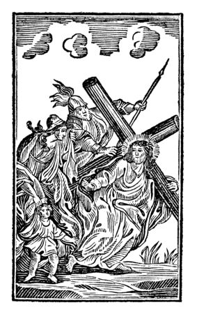 Antique vintage biblical religious engraving or drawing of 8th or eighth Station of the Cross or Way of the Cross or Via Crucis. Jesus meets the women of Jerusalem.Bible,New Testament,Mittlerer Himmelsschlussel, Neuhaus, Germany, 1840 Illusztráció
