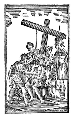 Antique vintage biblical religious engraving or drawing of 10th or tenth Station of the Cross or Way of the Cross or Via Crucis. Jesus is stripped of his clothes.Bible,New Testament,Mittlerer Himmelsschlussel, Neuhaus, Germany, 1840