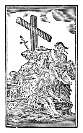 Antique vintage biblical religious engraving or drawing of 13th or Thirteenth Station of the Cross or Way of the Cross or Via Crucis. Jesus is taken down from the cross.Bible,New Testament,Mittlerer Himmelsschlussel, Neuhaus, Germany, 1840