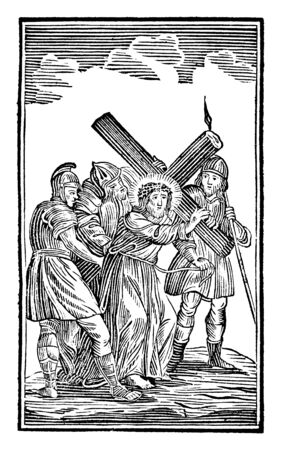 Antique vintage biblical religious engraving or drawing of 2nd or Second Station of the Cross or Way of the Cross or Via Crucis. Jesus carries His cross.Bible,New Testament,Mittlerer Himmelsschlussel, Neuhaus, Germany, 1840