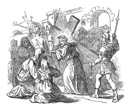 Antique vintage biblical religious engraving or drawing of Jesus carrying cross for crucifixion and talking to women of Jerusalem . Bible, New Testament,Luke 23. Biblische Geschichte , Germany 1859. Ilustrace