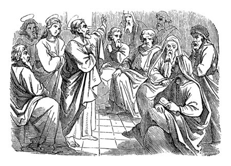 Antique vintage biblical religious engraving or drawing of saint apostle Simon Peter is speaking to Paul and Barnabas about circumcision .Bible, New Testament,Acts 15. Biblische Geschichte , Germany 1859.