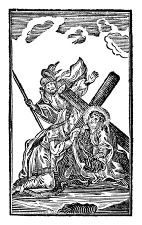 Antique vintage biblical religious engraving or drawing of 6th or sixth Station of the Cross or Way of the Cross or Via Crucis. Veronica wipes the face of Jesus.Bible,New Testament,Mittlerer Himmelsschlussel, Neuhaus, Germany, 1840