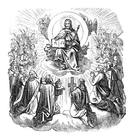 Antiguo grabado religioso bíblico vintage o dibujo de Jesucristo sentado como rey en el trono en el cielo rodeado de apóstoles y creyentes. Biblia, Nuevo Testamento, Biblische Geschichte, Alemania 1859. Ilustración de vector