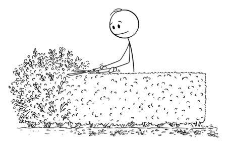 Vector cartoon stick figura disegno illustrazione concettuale dell'uomo o giardiniere il taglio o la rifilatura della boccola di siepe con cesoie o cesoie. Vettoriali