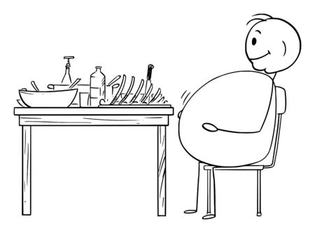 Vector cartoon stick figure drawing conceptual illustration of fat or obese or overweight man sitting satisfied behind table after dinner.Healthy lifestyle concept. Vektoros illusztráció