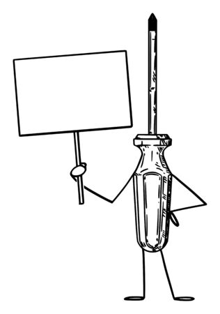 Vector illustration of cartoon screwdriver character holding empty sign in hand. Craft or tool advertisement or marketing design.