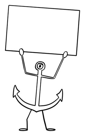 Vector illustration of cartoon ship or boat anchor character holding empty sign in hand.Nautical or marine advertisement or marketing design.