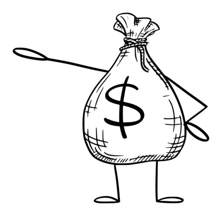 Vector illustration of cartoon bag of money or dollars character showing or pointing at something by hand.Financial advertisement or marketing design.
