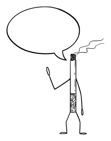 Vector illustration of cartoon smoking cigarette character with speech bubble. Health or addiction advertisement or marketing design. Ilustracja